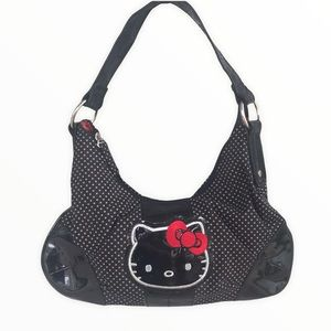 HELLO KITTY Polka Dot Shoulder Purse Black and Red